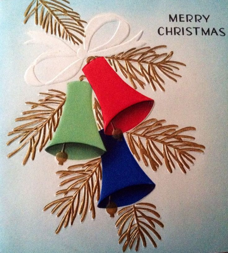 Vintage 1940s Embossed Christmas Greeting Card Red, Blue, & Green Holiday Bells | eBay