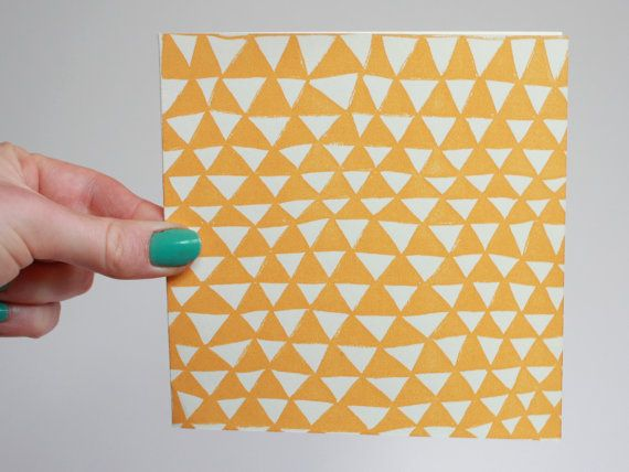 Screenprinted Greetings Card - 'Mountains' Pattern, Dijon Colourway
