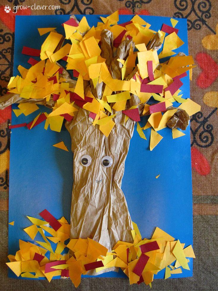 Детская поделка аппликация дерево /  autumn tree kids craft idea