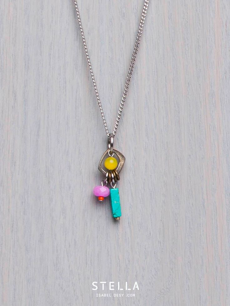 Turquoise, Pink And Yellow Small Pendant, Glass Beads, Gemstone, Pewter, Stainless Steel. Sale 50% Off.  by StellaIsabelDesy on Etsy https://www.etsy.com/ca/listing/254162377/turquoise-pink-and-yellow-small-pendant