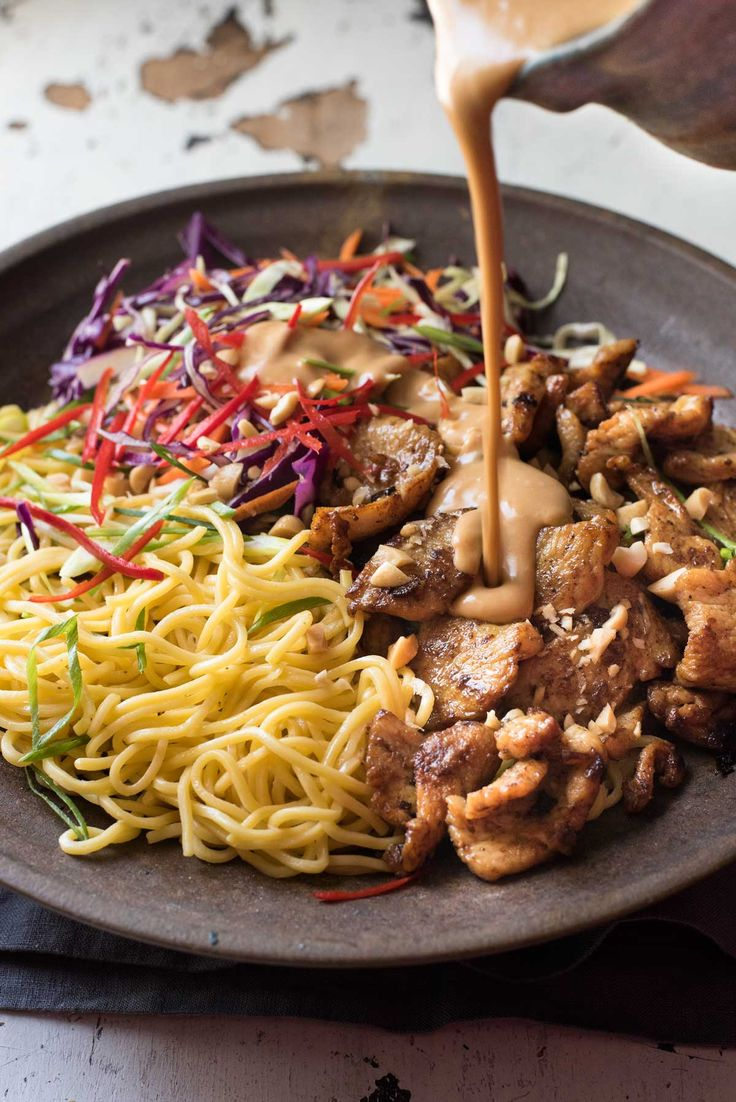Satay chicken with a noodle salad tossed with a scrumptious satay peanut dressing!