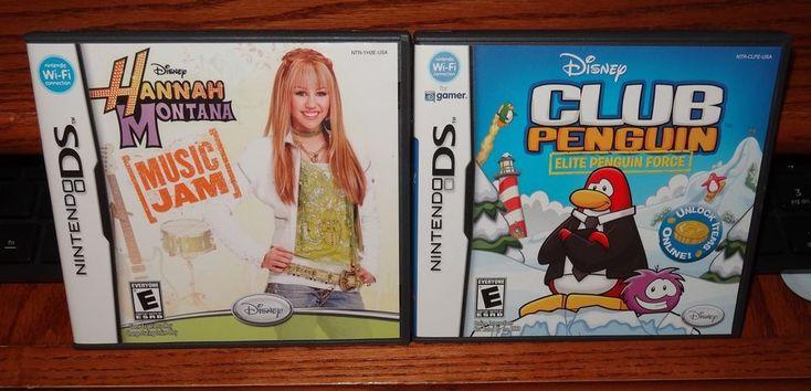 Nintendo DS Club Penguin Elite & Hannah Montana Music Jam w/Cases Lot of 2 ~ KH #Nintendo