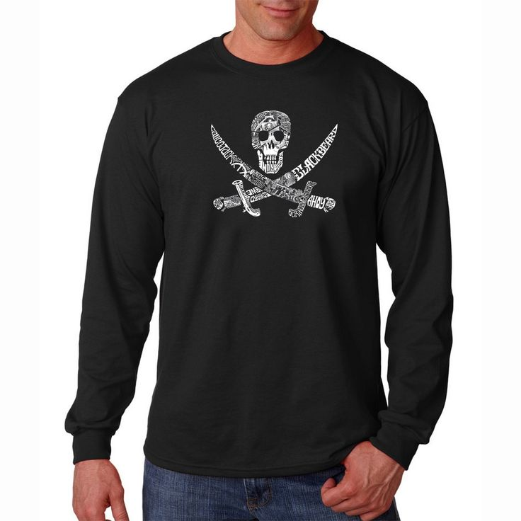 Los Angeles Pop Art Men's 'Pirate Pictures' Long Sleeve T-shirt
