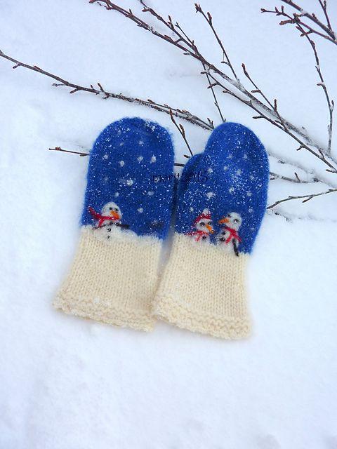 Ravelry: mabe58's Det snør , det snør votter / Snowmen mittens