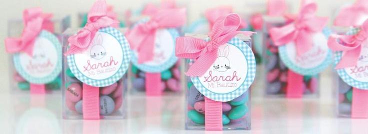Recuerditos para el Bautizo de Sarah con M personalizados