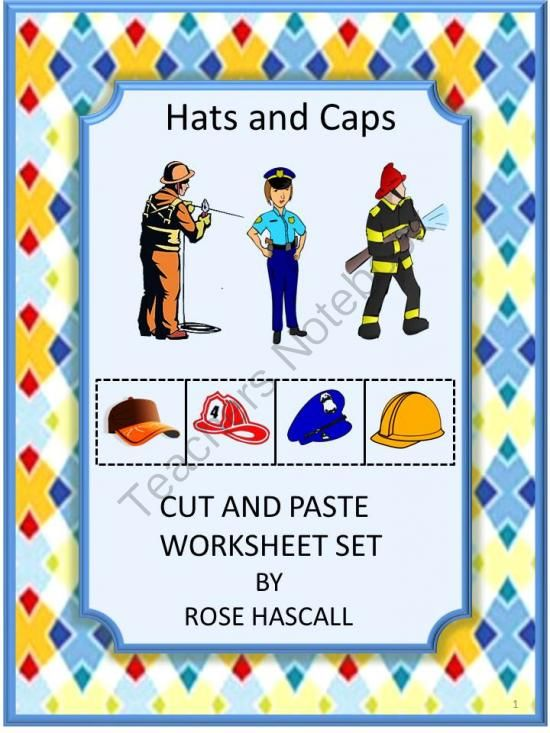 hats and cap cut and paste worksheet set p k k special education autism from smalltowngiggles. Black Bedroom Furniture Sets. Home Design Ideas