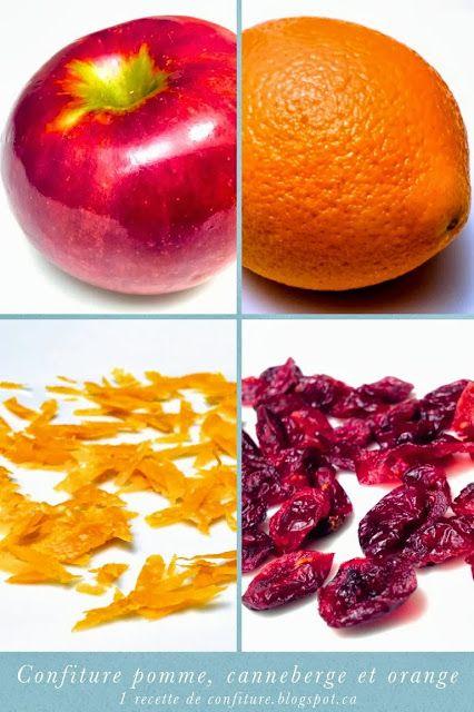 1 recette de confiture: Confiture de pommes et canneberges (cranberries) à l'orange