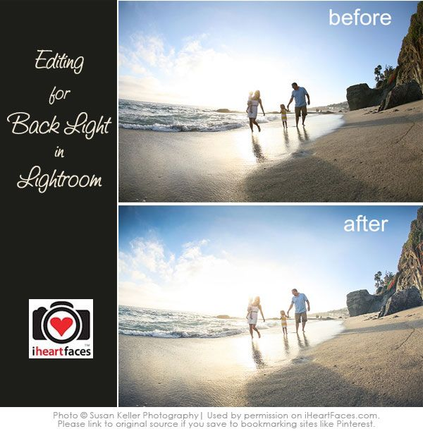 Learn how to edit a beautiful backlit photo using Lightroom!  {photo editing tutorial via iHeartFaces.com}