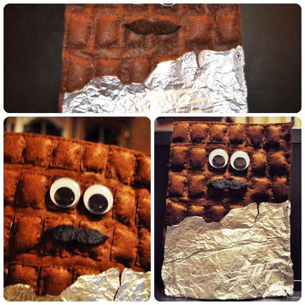 Zelfgemaakte handpop chocoladereep :-)