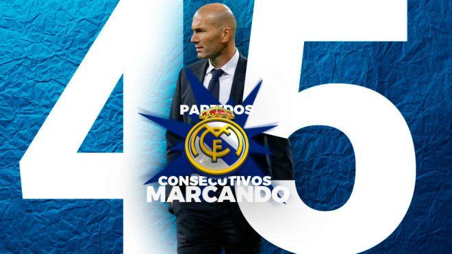 Real Madrid: El Real Madrid bate otro récord: 45 partidos seguidos marcando | Marca.com http://www.marca.com/futbol/real-madrid/2017/03/01/58b7318f468aeb02698b457c.html