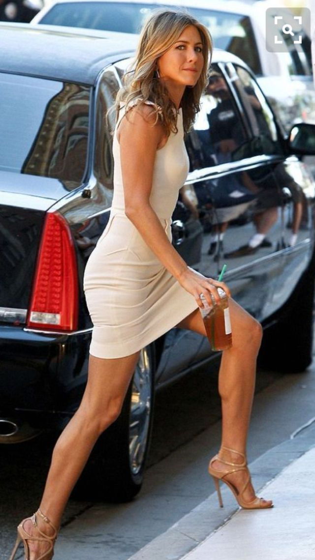 Jennifer Aniston in mini skirt