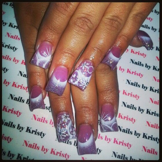 Nails Nailsbykristy Pureplatinumsalonandspa Acrylic C Cut Curved Airbrush Winter