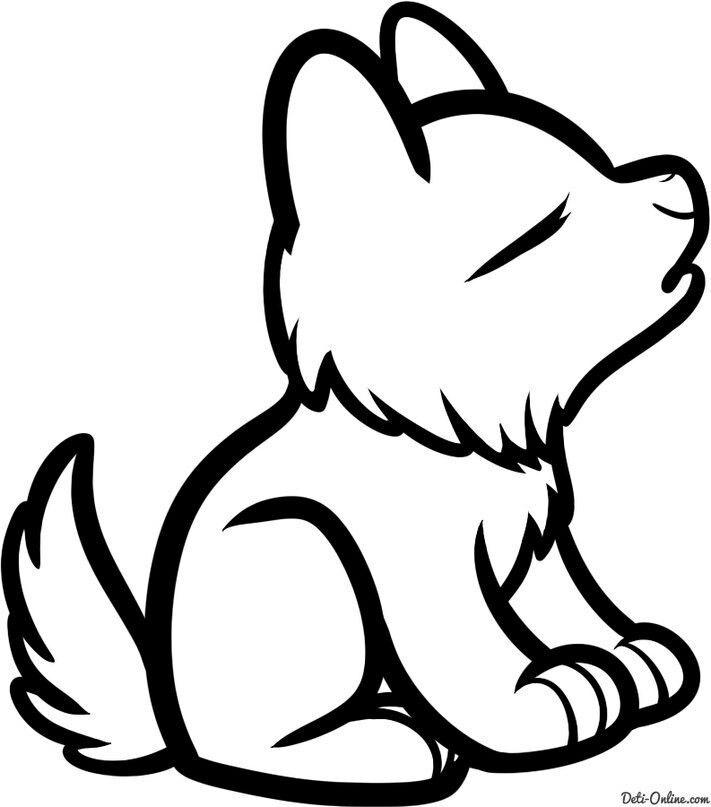 волчонок рисунки в картинках бревна