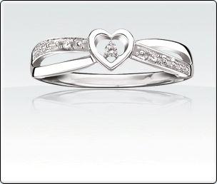 NEW! 10Kt. White Gold Diamond Heart Promise Ring