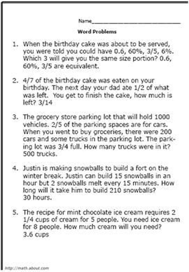 Best 25 7th Grade Math Worksheets Ideas On Pinterest