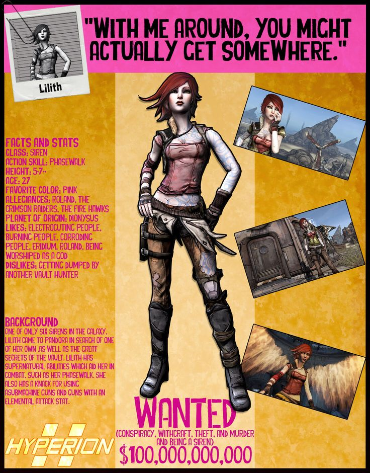 Borderlands 2 Wanted Posters - Lilith by NerdscapeDesigns on Etsy https://www.etsy.com/listing/291326503/borderlands-2-wanted-posters-lilith