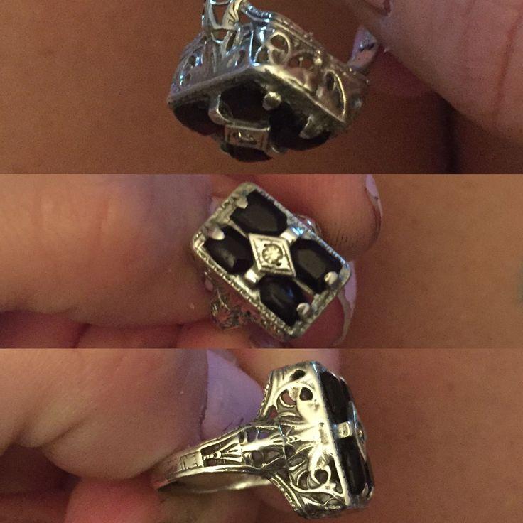 Antique Victorian silver filigree ring with jet stones 1880's era. #silver #antique #filigree #victorian #jet #jetblack #blackstones #vintage #1880era #irreplaceable #familyheirloom
