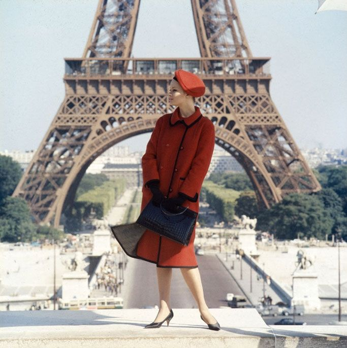 Norman Parkinson, Celia Hammond photographed in front of the Eiffel for a Wetherall advertisement. 1962