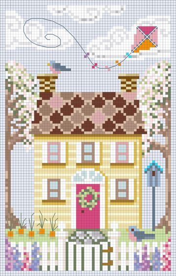 Spring House Cross Stitch Chart