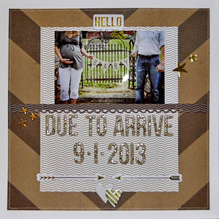 12x12 scrapbook page example inspiration unisex surprise baby pregnancy pregnant expecting boy girl due date banner bunting maternity nursery belly bump kraft gold white glitter tribal arrow hearts stars star chic machine stitching