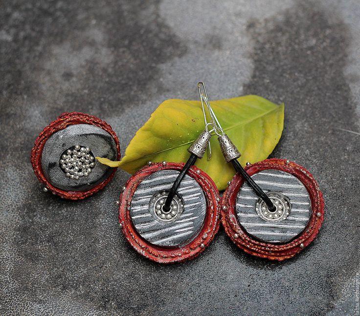 Купить комплект украшений серьги и кольцо из полимерной глины - ярко-красный, серьги, кольцо, комплект