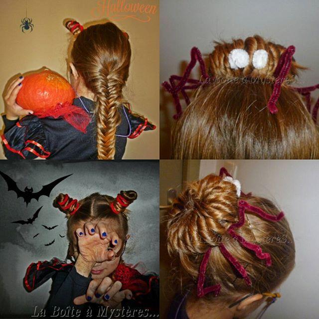 Coiffures fille ou fillette pour Halloween ou Carnaval  cornes de sorcière  et grosse araignée Matériel