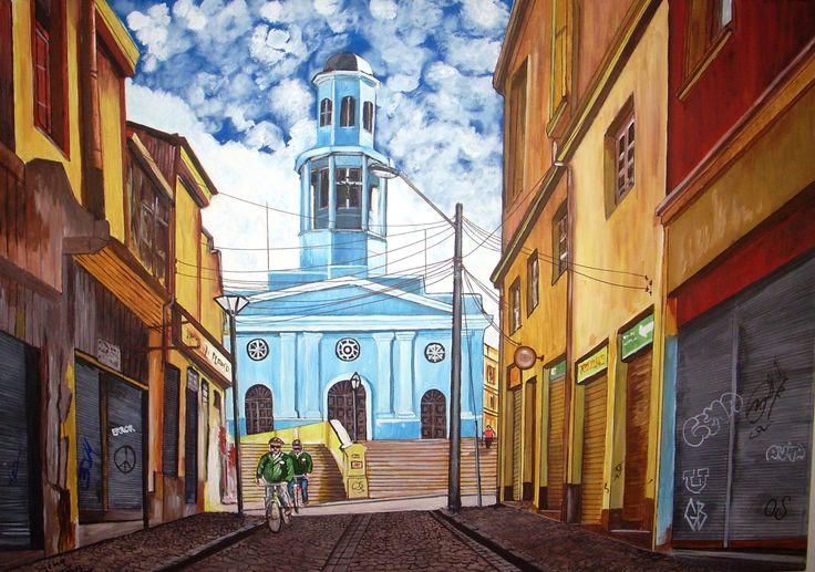 Gema Silva Acrílico ORIGINAL 100 x 70 cms Iglesia La Matriz en Valparaíso
