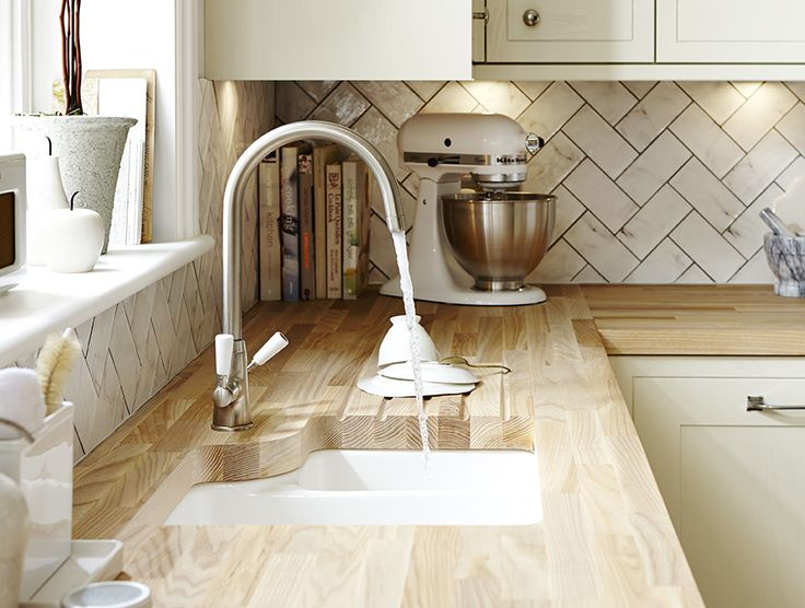 Get the complete shaker look in your kitchen with this under mounted sink and tap.  Take a look at Howdens for kitchen ideas and inspiration.