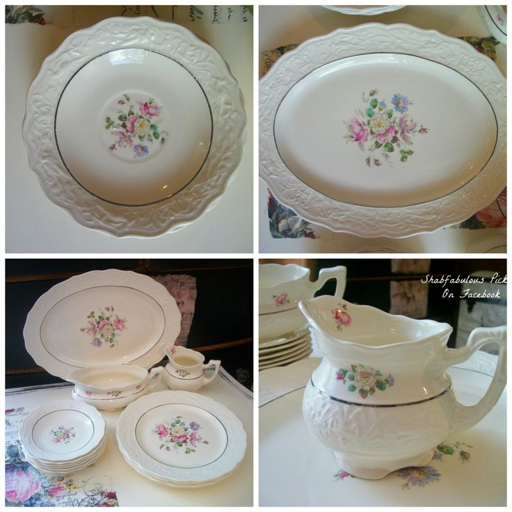 Vintage Mt. Clemens Pottery China ~ Gravy Boat ~ Plates ~ Platter ~ Creamer. Shabby mismatched China. Rustic Shabby wedding dinner plates. All for sale ~ 40.00