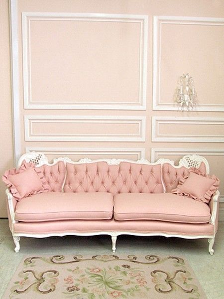 dream sofa..........pink, tufted, velvet, glamour: Decor, Sofa, Idea, Pink Couch, Shabby Chic, Dream, Living Room, House, Furniture