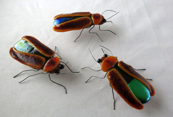 Fused Glass Lightning Bugs Mini Sculpture by trilobiteglassworks.deviantart.com on @deviantART