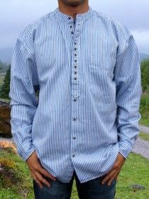 Traditional Grandfather Shirt SW1345 Blue White