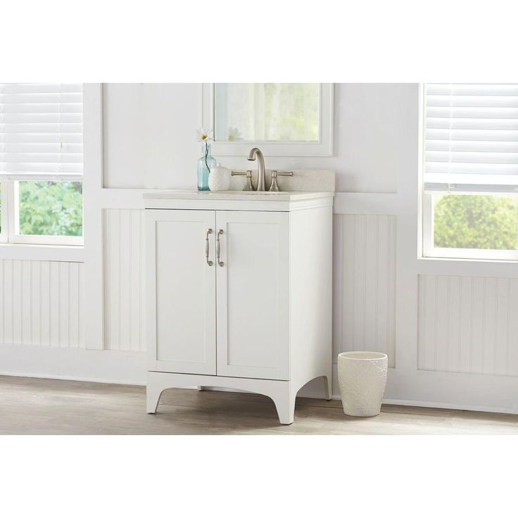 Mayworth 24 in. Vanity in Ivory with Quartz Vanity Top in White Birch-D11224-0140B - The Home Depot