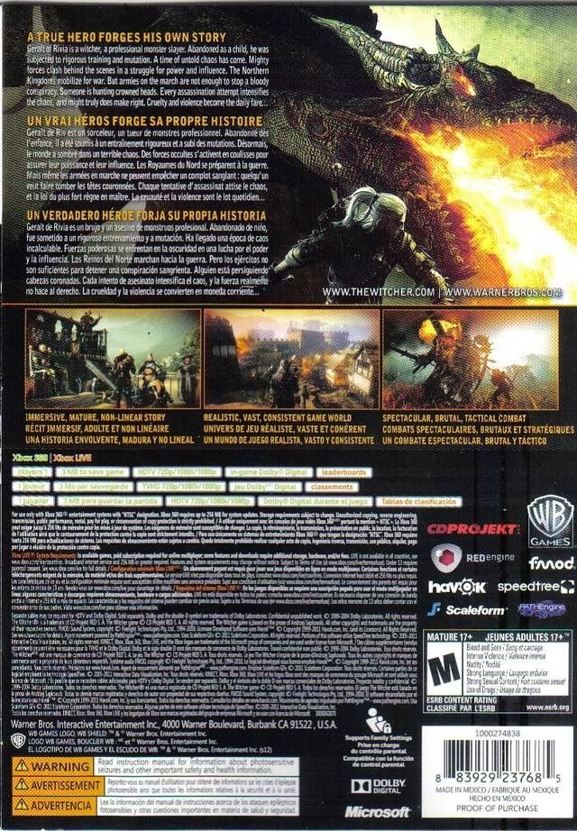 Witcher 2 Xbox 360 NTSC back cover