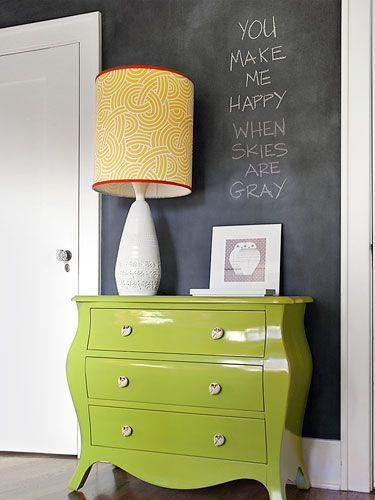 Chartreuse dresser + chalkboard wall