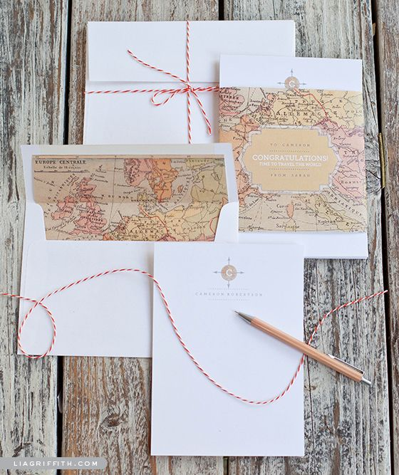 Free Printable Vintage Map Stationery Set : Monogram Note Cards, Envelope Liners and Belly Bands , wedding invites maybe