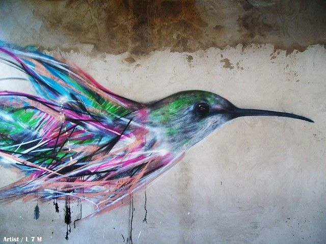 Bird Street Art by Luis Seven Martins aka L7M