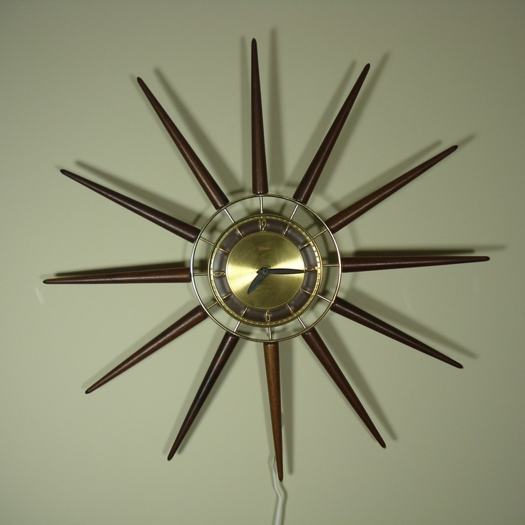 Vintage 60's Snider Sunburst Atomic Wall Clock