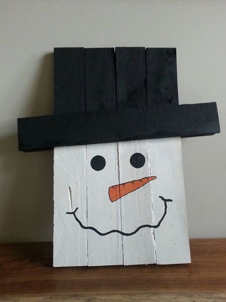 Locally handmade & painted reversible snowman, scarecrow sign on reclaimed wood.