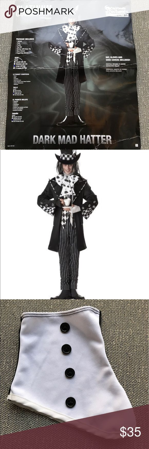 Men's Mad Hatter Costume Ready for Halloween yet?? Package includes jacket, vest, pants top hat, dickey with bow tie, shoe cover, and glove... it is missing one shoe cover and one glove the shoe cover is the 3rd picture and then there's the glove. Worn only once and mostly was for pictures. Other