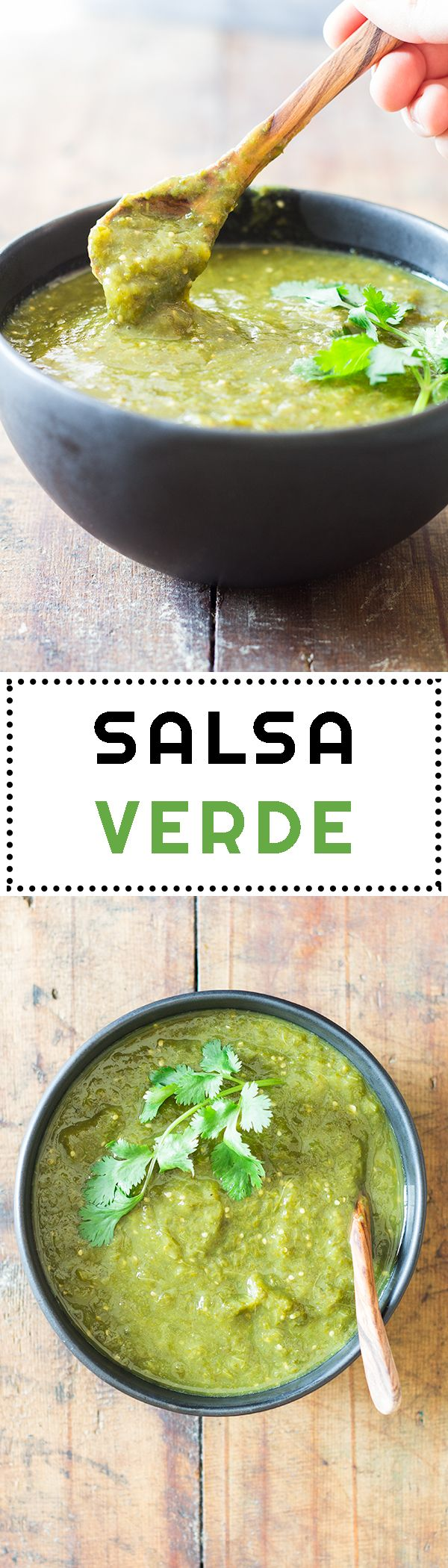 Salsa Verde is a typically Mexican taco sauce made with tomatillos , a bunch of cilantro (fresh coriander) and jalapeno peppers for heat.
