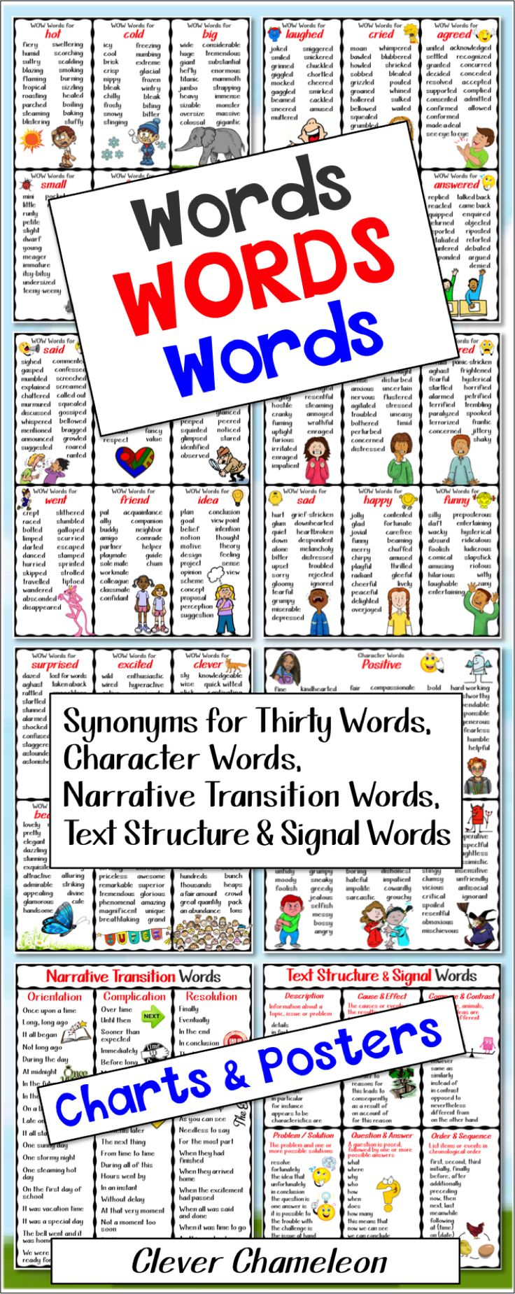 Synonyms, Character Words, Narrative Transition Words and Text Structure Signal Words in Charts and Posters