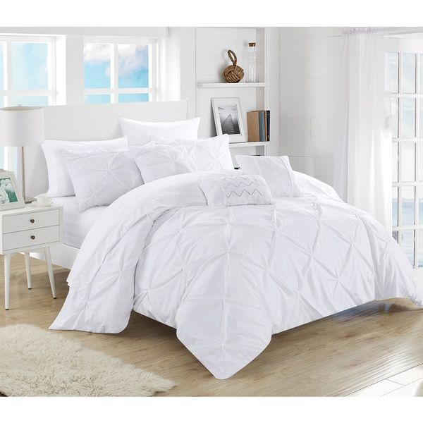 chic home 10piece valentina white pinch pleated comforter bed in a bag with microfiber