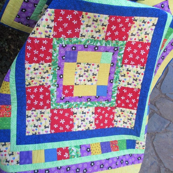 "Hand-made quilt, 100% cotton, scotty dog, 38.5""x38.5"", one-of-a-kind, patchwork, quilting, patchwork quilt, birthday present, warm quilt by LittleLarkClothing on Etsy"