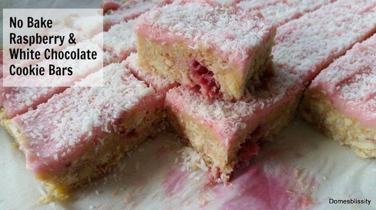 No Bake Raspberry & White Chocolate Cookie Bars