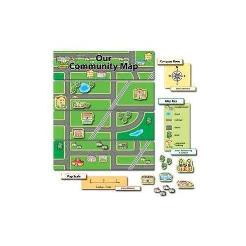 NUESTRA COMUNIDAD, MAPA - Utilice las ilustraciones detalladas y las etiquetas en este tablón de anuncios para enseñar una variedad de conce...