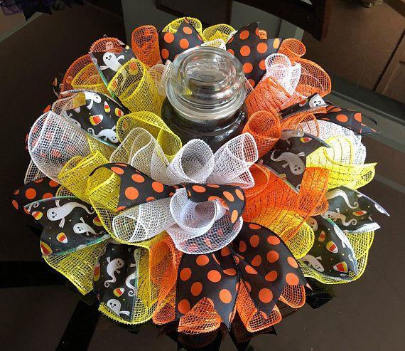 17″ Halloween Candy Corn/Ghost Deco Mesh Centerpiece/Candle Holder – Yellow/Orange/White
