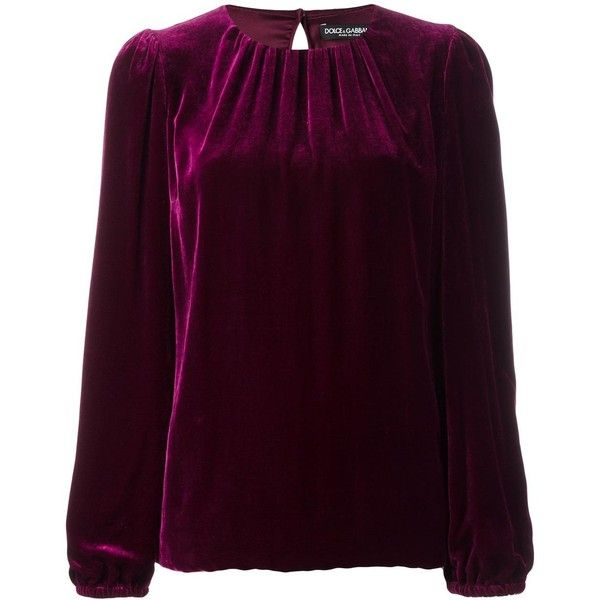 Dolce & Gabbana velvet top (16,875 EGP) ❤ liked on Polyvore featuring tops, purple, purple top, purple long sleeve top, long sleeve tops, dolce gabbana top and velvet top