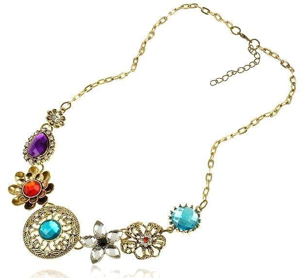 Crystal Flower Bib Necklace Boho New Retro Vintage Bronze Choker Trendy Charms #HandmadewithLove #Bib