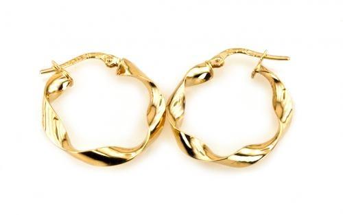 """Zlaté náušnice kruhy,, Spiral"""" 2,2 cm"""
